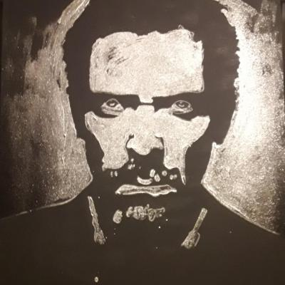 portrait paillette glitter painting